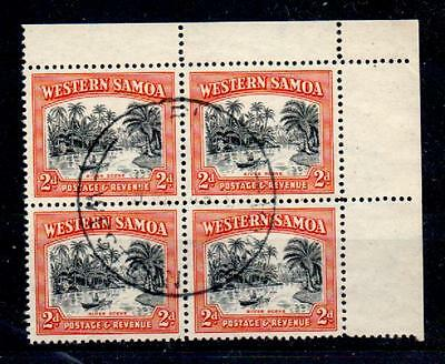 SAMOA SG202 1944 2d BLACK & ORANGE USED BLOCK OF 4