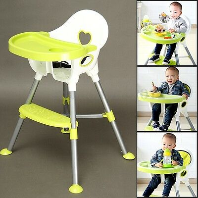 Adjustable Low and High Baby Toddler Eating Feeding Chair Table With Seat Belt