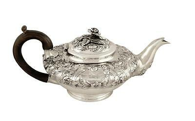 Antique William Iv Sterling Silver Teapot - 1836 - Bird Crest
