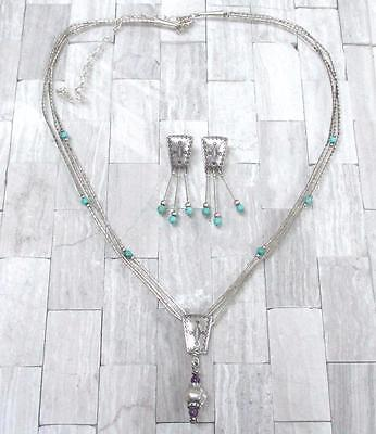 Vintage Turquoise Sterling Silver Pendant Necklace & Earrings Set QT 16-F5147