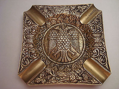 Greece vintage solid brass ashtray with Byzantine Double-Headed Eagle #8