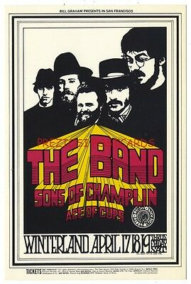 BG-169 1969 FILLMORE WEST Postcard - THE BAND Sons of Chamlin ACE OF CUPS