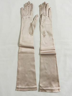 VINTAGE Women's Long Elbow Length Opera Evening Formal Satin Gloves Champagne