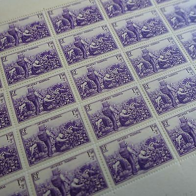 FEUILLE SHEET TIMBRE SECOURS NATIONAL N°468 x25 1940 NEUF ** LUXE MNH COTE 135€