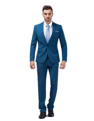 Slim Fit Men Groom Suit Tuxedos Formal Groomsmen Wedding Suits Pearlecent Aqua