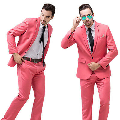 Pink Slim Fit Men Groom Suit Tuxedos Formal Groomsmen Wedding Suits Jacket Set