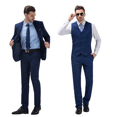 Royal Blue Slim Fit Men Groom Suit Tuxedos Formal Groomsmen Wedding Suits Jacket