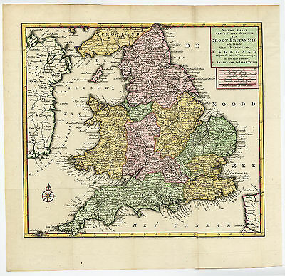 Antique Print-GREAT BRITAIN-ENGLAND-WALES-Tirion-c. 1750