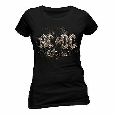 AC/DC T Shirt Rock Or Bust Skinny Fit Tee Womens Ladies Official Licensed Merch