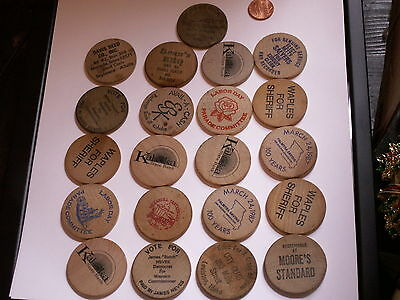 lot of wood wooden nickels tokens coins  free u.s.a. shipping
