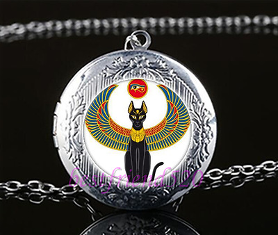 Egyptian Cat With An Eye Cabochon Glass Tibet Silver Locket Pendant Necklace