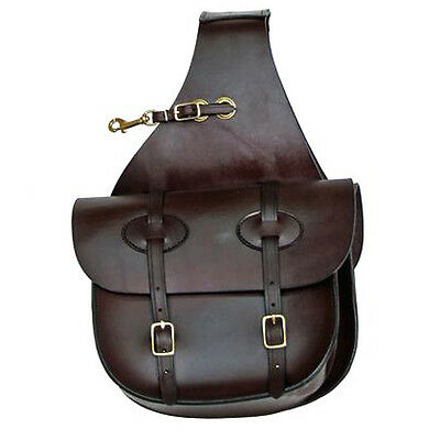 """11 ½""""Hx10 ½""""Wx4""""D TUCKER HORSE LEATHER TRADITIONAL SADDLE BAG BRASS SNAP BROWN"""