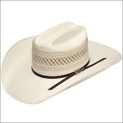 7 3/8 M&f Western 20X Ariat Woven Straw Cowboy Hats W/ Double Leather Band