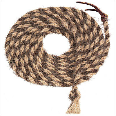 NATURAL BROWN 20ft WEAVER LEATHER TAIL HAIR MECATE HORSE HAND BRAIDED REINS