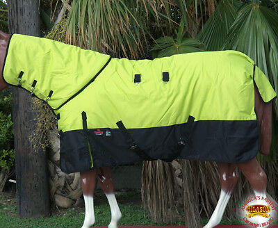 "75"" Hilason 1200D Waterproof Poly Turnout Horse Sheet Neck Cover Lime Green"