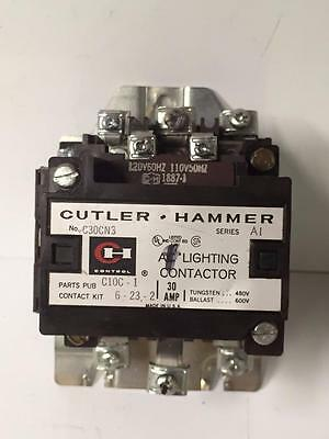 Cutler Hammer C30CN3 AC Lighting Contactor 30A 120V Coil A1 C30 CN3 USED