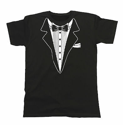 Tuxedo Mens T-Shirt Suit Tie Wedding Fancy Dress Stag Party Dinner Jacket Gift