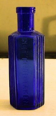 "Antique blue Cobalt glass bottle vial ""not to be taken"" Victorian very rare"