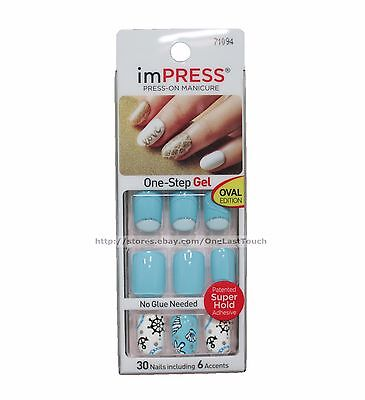 KISS* imPRESS Press-On Manicure CHEEKY CHIC 30 Nail+ACCENTS Blue+Seashell+Anchor