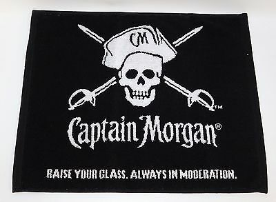 Captain Morgan Rum Bar Pub Hand Towel Black White Skull Crossbones Pirate