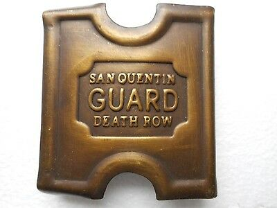 Anson Mills Belt Buckle & clip San Quentin Guard Death Row Solid Brass WITH CLIP