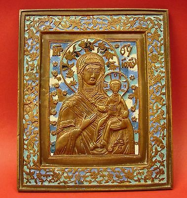 Russian XIX C Antique Icon MARY Smolensk Mother of God Bronze 4Color Enamel 4x6""
