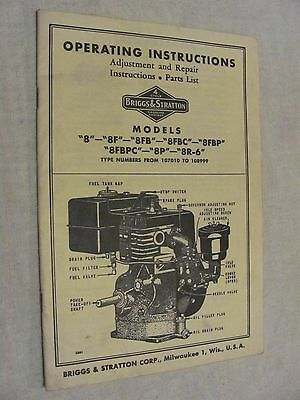 Briggs & Stratton Model 8 8F 8FB Operating Instructions Parts List