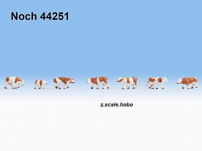 Noch 44251 Z Scale Figures Animals Cows Calf Cattle BROWN-WHITE Spots *NEW$0SHIP