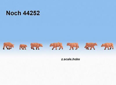 Noch 44252 Z Scale Figures Animals Cows Calf Cattle Solid BROWN *NEW $0 SHIP