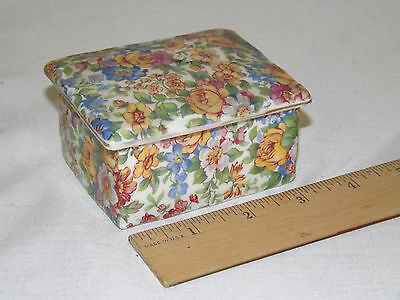 Vintage Erphila Floral Chintz Windsor Covered Trinket Box Czechoslovakia