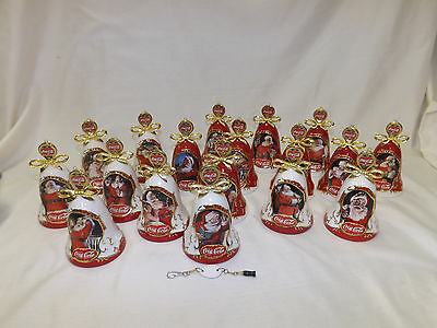 Bradford Coca-Cola Porcelain Christmas Bell Ornaments Santa set of 18