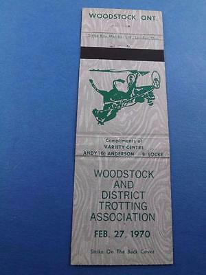 Woodstock Trotting Association 1970 Horse Harness Racing Matchbook Ont Canada