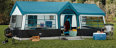 EXTRA LARGE Family CAMPING TENT 12 Person 3 Rooms 20 x 12ft Wheeled Carry Case