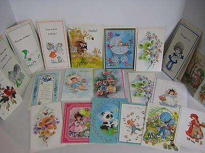 21 Vintage Greeting Cards Unused Birthday New Baby Congratulations Get Well ++
