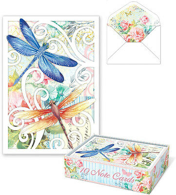 Punch Studio Die-Cut Dragonfly Note Cards Set10 Blank Cards & Lined Envelopes
