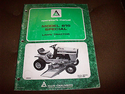 Allis-Chalmers 616 Special Lawn Tractor  Operator's Manual