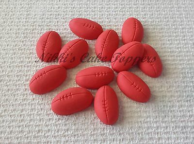 Edible 2D AFL Red Football footy boys birthday cake cupcake topper decorations