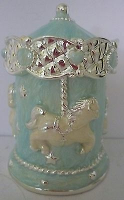 Baby Boy Keepsake Carousel Money Box  Christening Baby Shower Newborn Gift  Bnib