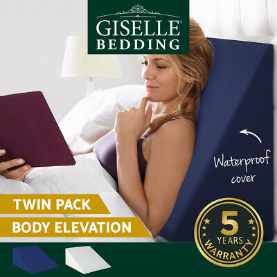 Giselle Bedding 2x Memory Foam Bed Wedge Pillow Neck Back Support White Blue