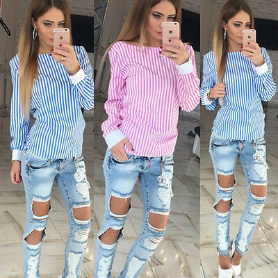 Womens Casual Blouse Backless Long Sleeve Ladies T Shirt Loose Striped Tops