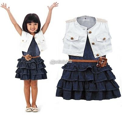 Fashion Baby Girl Kids Outfit Clothes Coat + Dress 2 Piece Set with Belt B98B