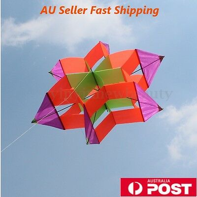3D Colorful Flower Kite Light Wind Flying Single Line Kids Outdoor Sports Toy AU