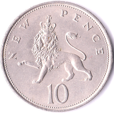 Circulated Large 10 Ten Pence New Pence Coins 1968 - 1981