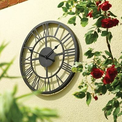 Roman Numeral Metal Garden Wall Hanging Clock Weather Resistant Ideal Gift