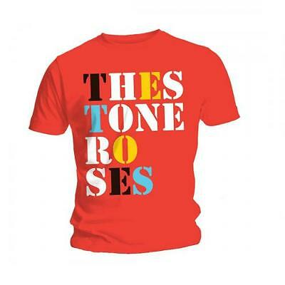 The STONE ROSES T SHIRT Font Logo Red Official Mens Unisex Ian Brown Rock Merch