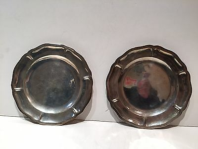 Vintage Maciel Sterling Silver Mexican Champagne Coaster Card Tray Set of 2