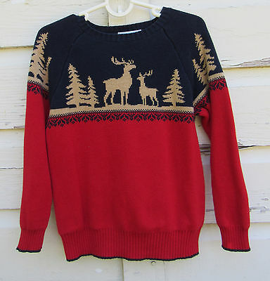 Janie & Jack Boys Holiday Red Pullover Reindeer & Christmas Tree Sweater Size 5