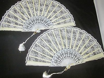 Vtg Lot Ladies Fan Tassel Off White Ivory Fabric Plastic Vane Spain Lace Bridal
