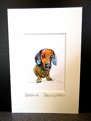Dacshund.  Mini art print from an original painting by Suzanne Patterson.X