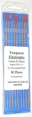 10 Tig Welding 3/32 x 7 2% Thoriated Tungsten Red Electrodes Rods Ground Finish